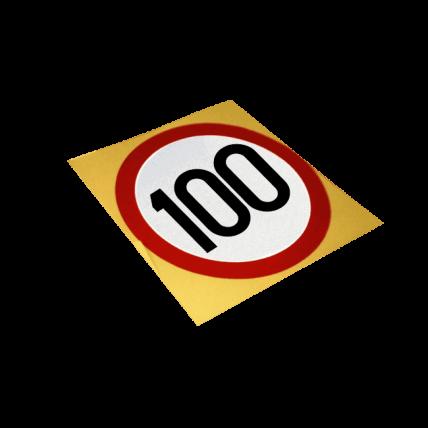 Autocolant reflectorizant, Limitare de viteza 100 km/h, D=130mm
