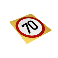 Autocolant reflectorizant, Limitare de viteza 70 km/h, D=130mm