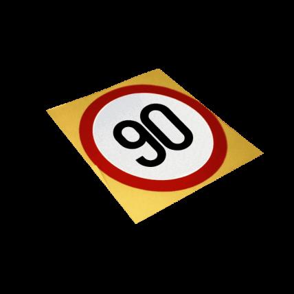 Autocolant reflectorizant, Limitare de viteza 90 km/h, D=130mm