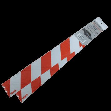 Set Autocolant alb/rosu, reflectorizant, 400 x 50mm - DOT017AR