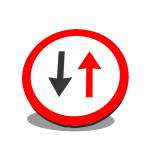 Indicator din plastic, temporar, fig. U12, Prioritate pentru circulatia din sens invers, clasa 1, 600 mm, reflectorizant