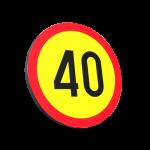 Indicator din plastic, temporar, fig. U16, Limitare Viteză, clasa 1, 600 mm, reflectorizant