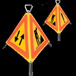 Indicator rutier pliabil Nereflectorizant cu 3 fete, L=600mm, Clasa R(0), A27, U10, U11.