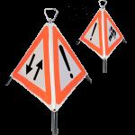 Indicator rutier pliabil Nereflectorizant cu 3 fete-fig. A31.A32, A33- circulatie in ambele sensuri, alte pericole, accident, latura de 600mm, clasa R(0)
